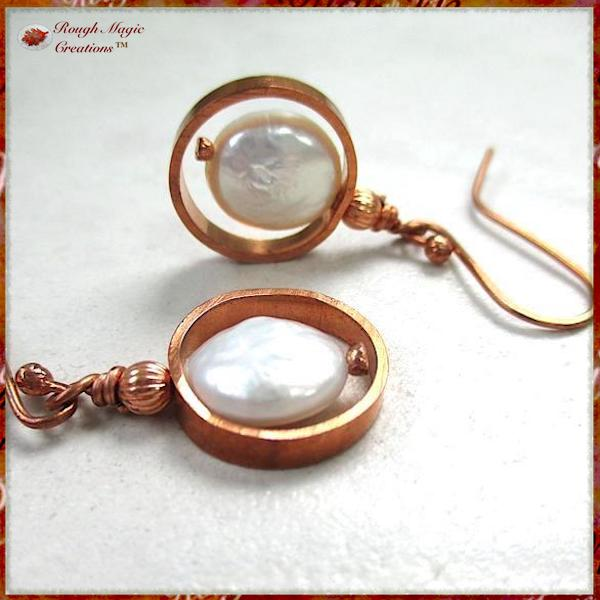 Genuine Pearl Earrings with Copper Circle Dangles