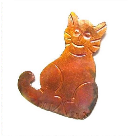 Hammered Copper Cat Brooch
