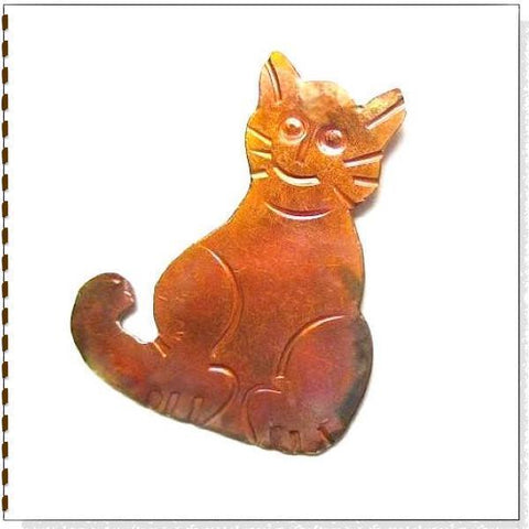 Hammered_Copper_Cat_Brooch