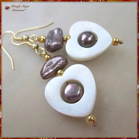 Romantic Heart Earrings with MOP Shells, Freshwater Pearls and gold beads and ear wires; coordinates with Mother of Pearl shell pendant necklace.