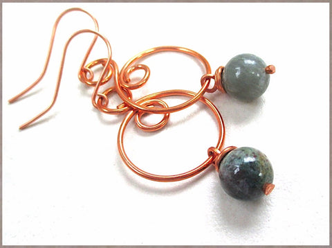 Boho Earrings Large Copper Hoop Dangles Handmade with Blue Green Ocean Jasper Gemstone Drops