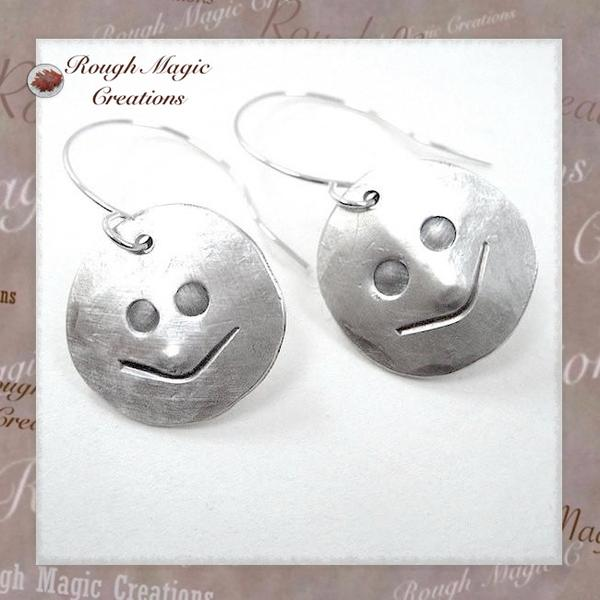 Sterling Silver Gemini Earrings Man in the Moon Faces