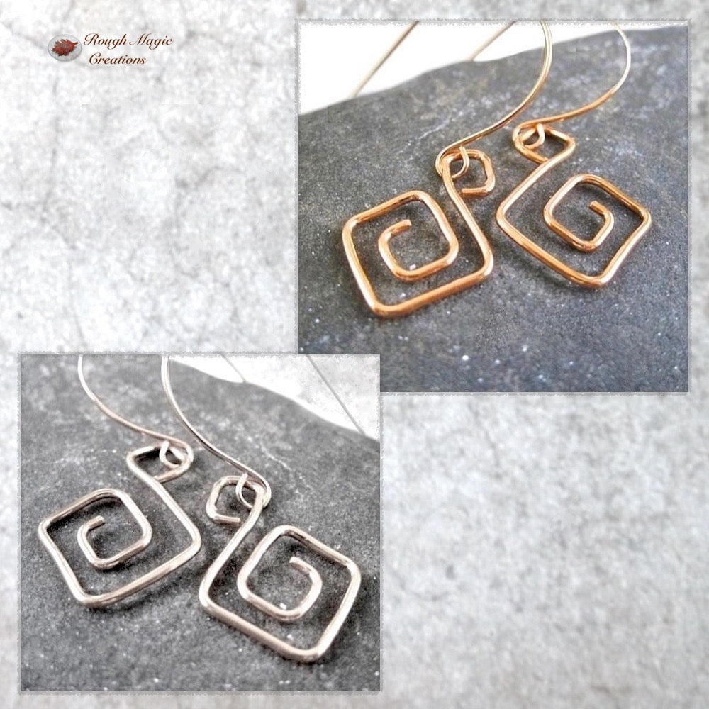 Greek Key Wirework Earrings Copper or Sterling Silver Classic Jewelry a