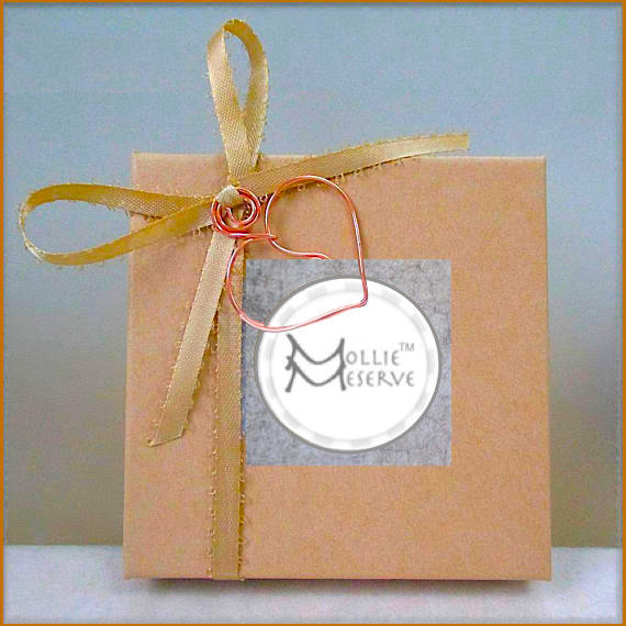 Complementary presentation box with purchase of jewelry by Mollie Meserve Designs for Rough Magic Creations