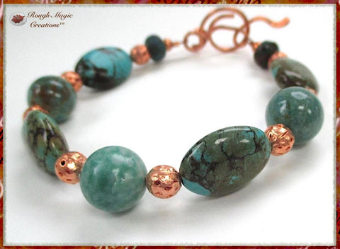 Matrix Turquoise Gemstone Bracelet with Copper Beads and Toggle Clasp