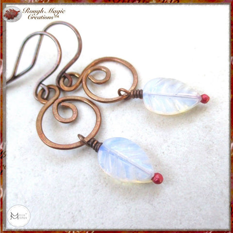 Moonstone Leaf and Copper Earrings
