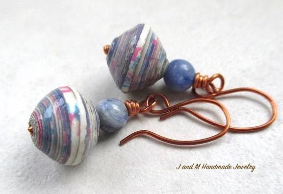 African Paper and Blue Stone Earrings by J and M Handmade Jewelry