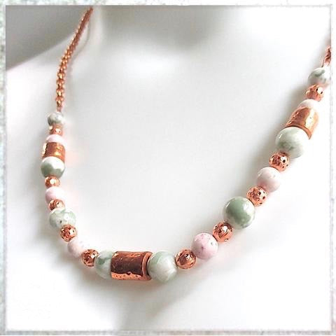 Pastel Pink & Green Gemstone Necklace shown in matinee length