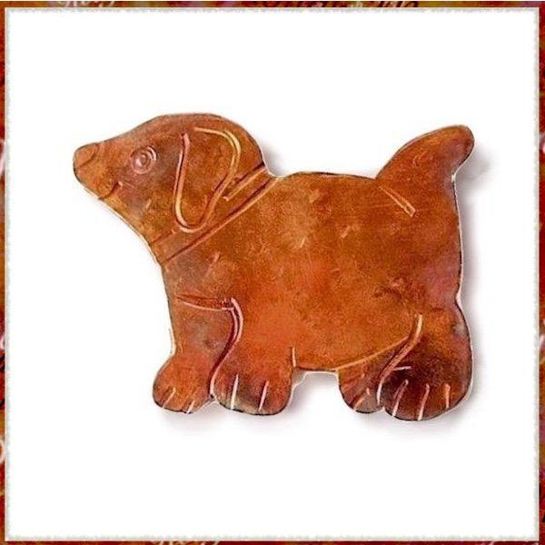 Copper Puppy Dog Brooch