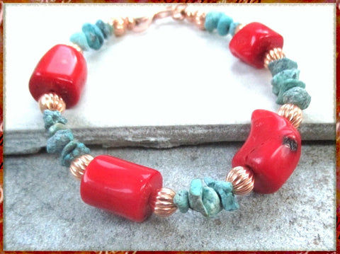 Red Coral and Turquoise Southwestern Bracelet with Copper Accents