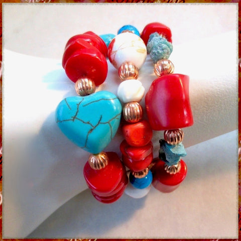 Stackable Bracelets with Coral Red, Turquoise Blue, White and Copper - Stack of 3.
