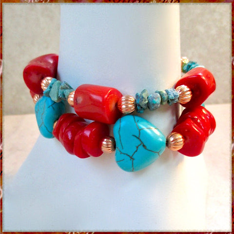 Red, Turquoise and Copper Stackable Bracelets