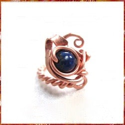 Lapis lazuli gemstone solitaire ring wire wrapped in copper