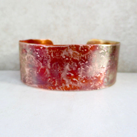 Rustic, highly textured copper cuff hand forged by Rough Magic Creations