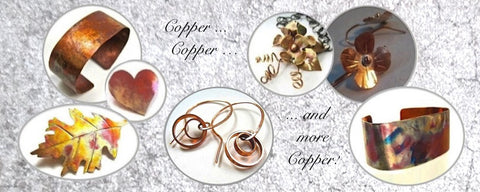 Hand forged copper jewelry necklaces earrings bracelets cuffs brooches