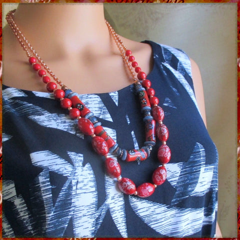 Thousand Flowers Necklace worn layer style with Chinese Red Necklace, handmade jewelry by Rough Magic Creations