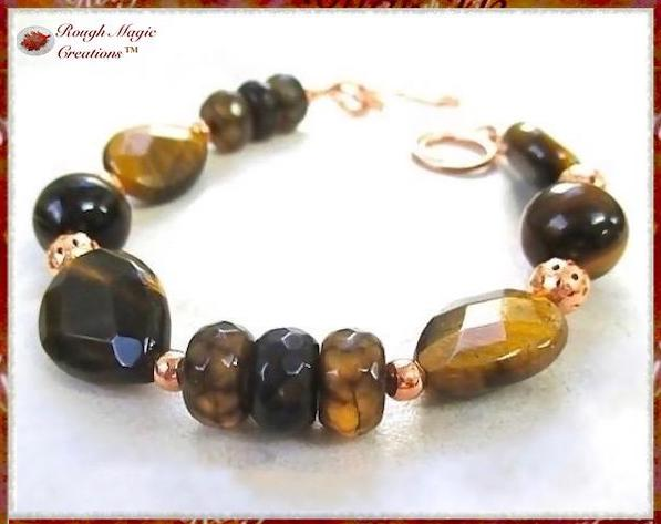 Tiger Eye and Agate Gemstone Bracelet with copper beads and handmade toggle clasp