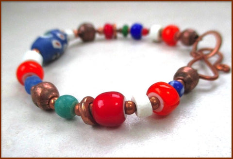 Colorful Boho Bracelet, Multicolor African Tribal Trade Beads, Solid Copper