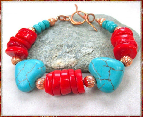 turquoise-gemstone-hearts-bracelet-with-red-coral-and-copper