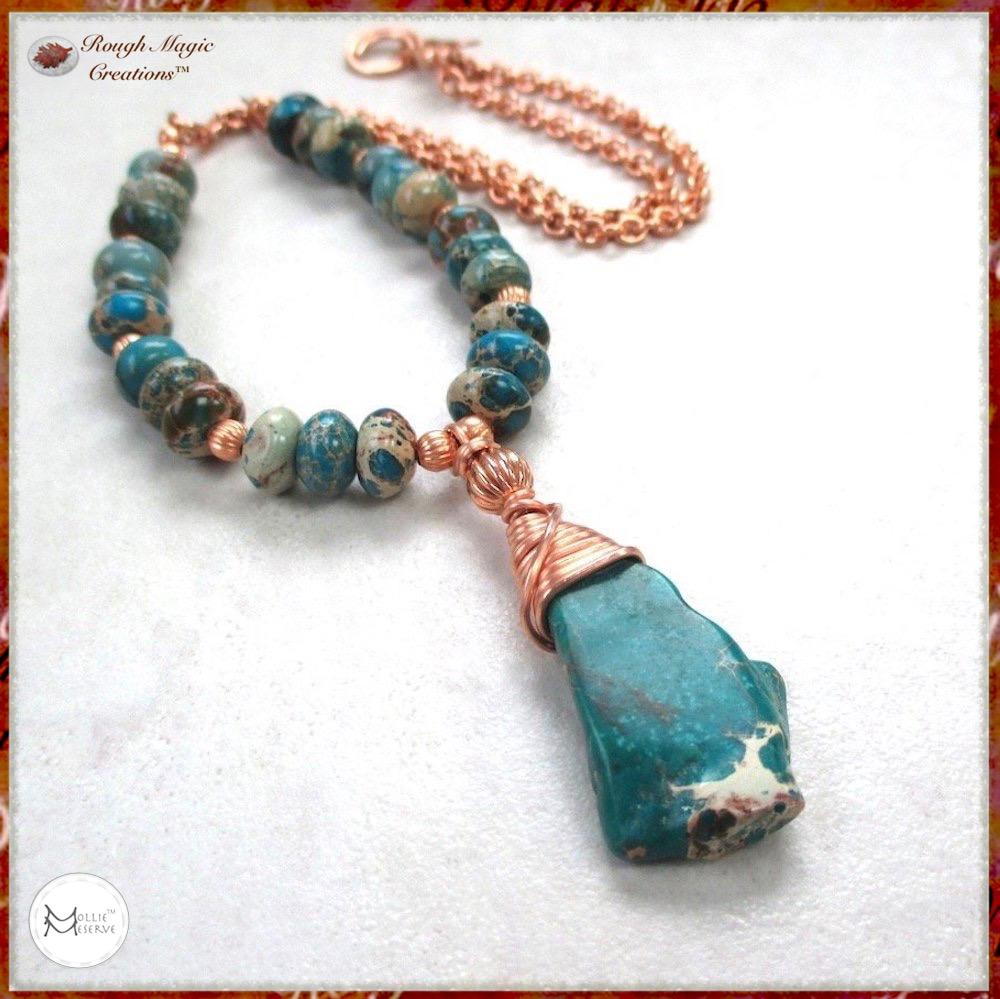 Turquoise jasper gemstone pendant, copper wire wrapped stone, bead and chain necklace
