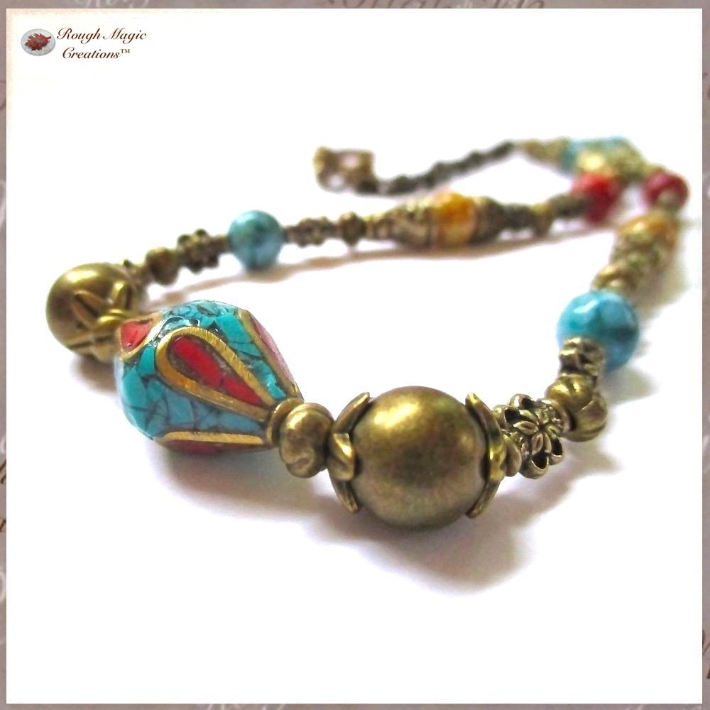Turquoise Red Gold Necklace Tibetan Tribal Centerpiece Antique_Brass