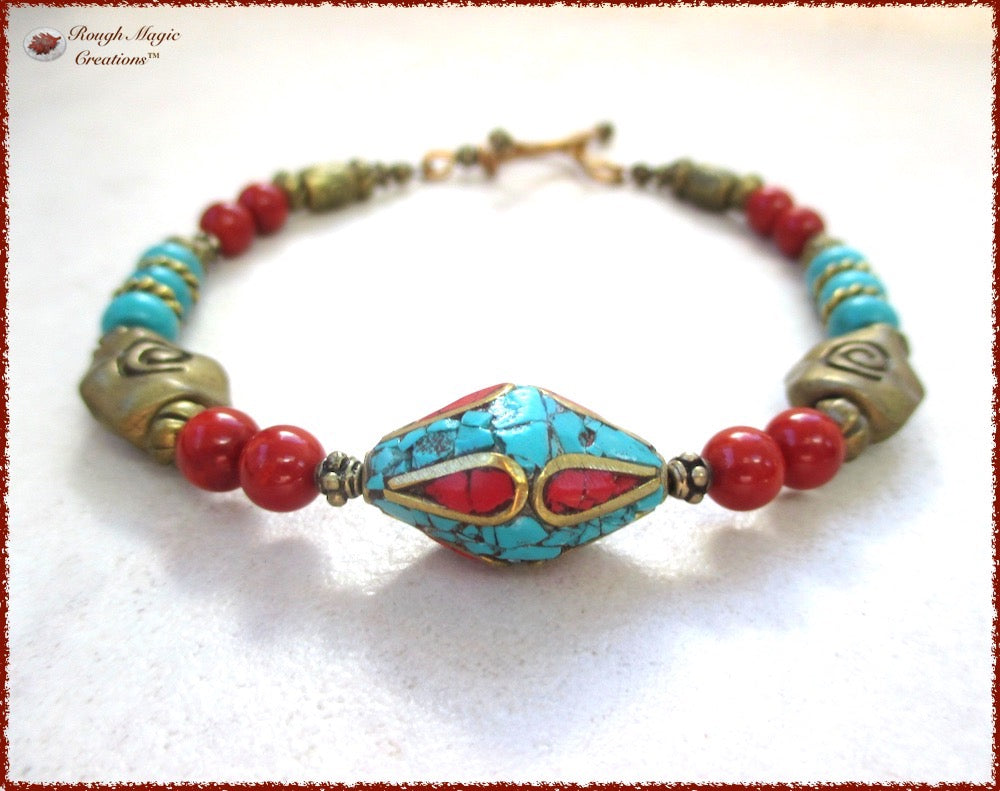 Boho ethnic bracelet beaded with Tibetan mosaic tuquoise coral antique brass