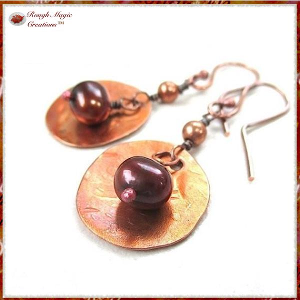 Bronze pearl earrings with rustic copper dangles