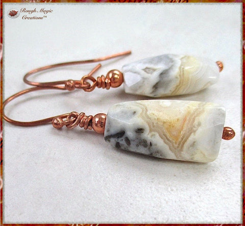 Crazy Lace Agate Earrings with Copper Wires