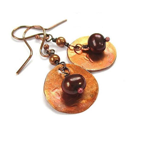 Bronze Pearl Earrings with Rustic Copper