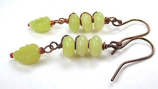 Spring green earrings olive jade gemstone leaves