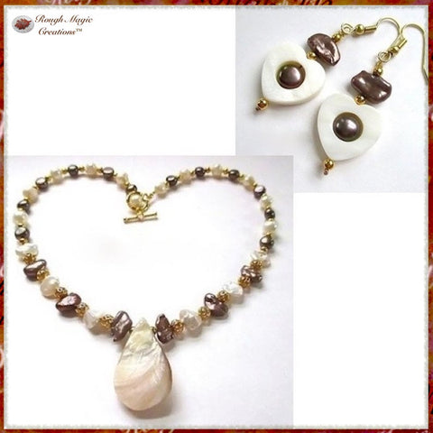 Mother of Pearl Shell Pendant Necklace with freshwater pearls and gold beads and clasp, coordinates with shell heart earrings.