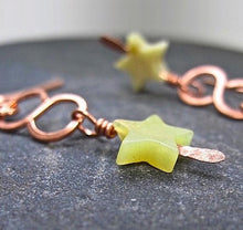 Load image into Gallery viewer, Star Earrings, Olive Green Stone, Rustic Copper, Boho Long Dangles, Serpentine New Jade Gemstone