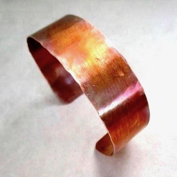 3/4 Inch Wide Simple_Copper_Cuff_Hand_Forged_Textured_Bracelet