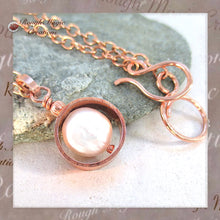 Load image into Gallery viewer, Pearl June Birthstone Pendant Necklace Handmade rustic copper jewelry