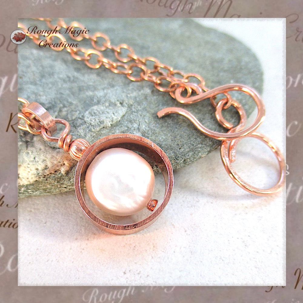 Pearl June Birthstone Pendant Necklace Handmade rustic copper jewelry