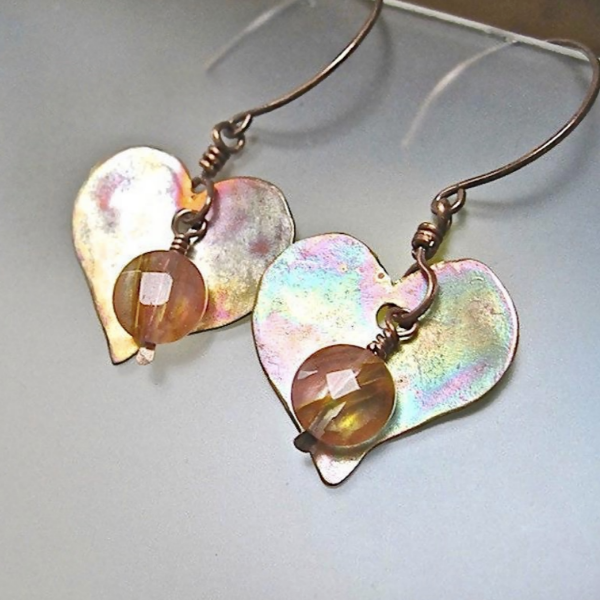Antiqued Copper Hearts Earrings with Pink Cherry Quartz