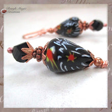 Load image into Gallery viewer, Extra large black earrings, boho dangles with vintage Tombo pear teardrop millefiori red orange yellow white floral beads from India, jet crystals, copper flower petal caps