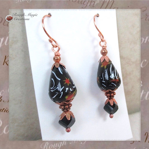 Long Black Earrings with Copper, Vintage Glass Teardrops and Crystals, Boho Dangles Handmade by Rough Magic Creations Jewelry