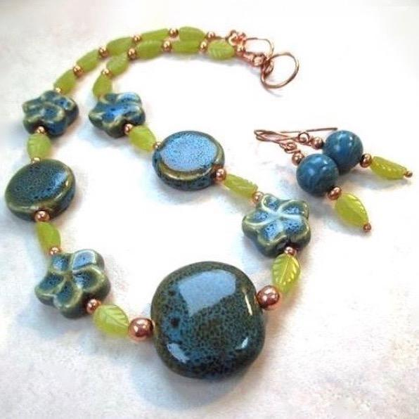 Blue and Green Ceramic & Serpentine Necklace and Earrings Jewelry Set