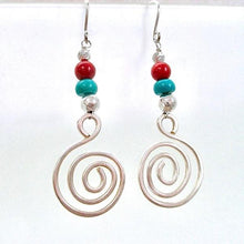 Load image into Gallery viewer, Colorful Turquoise and Red Sterling Silver Earrings. Designed and handmade by Mollie Meserve, these gemstone and sterling silver dangle earrings are long and large, combining colors traditionally associated with the Great American Southwest in a bohemian statement with a tribal flair.