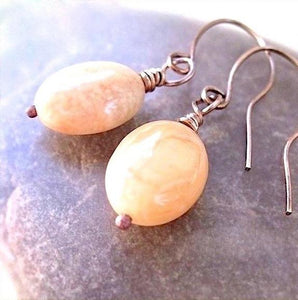 Botswana Agate Earrings with Peach Gemstones, Antique Copper Ear Wires