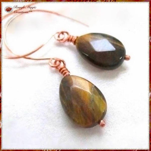 Brown Gemstone Teardrop Earrings with Faceted Tiger Eye and Copper