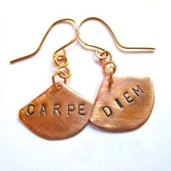 Carpe Diem Solid Copper Earrings Handmade Stamped Message Statement Jewelry by Rough Magic Creations