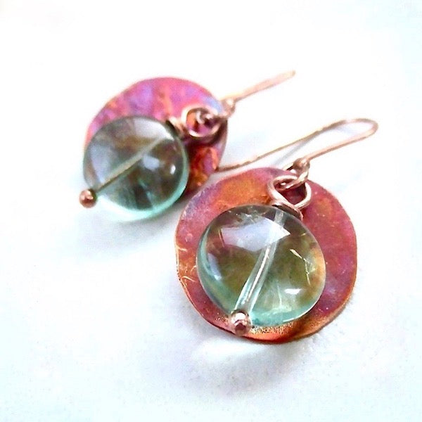 "alt-""Colorful_Copper_Earrings_with_Green_Fluorite_Gemstones"""