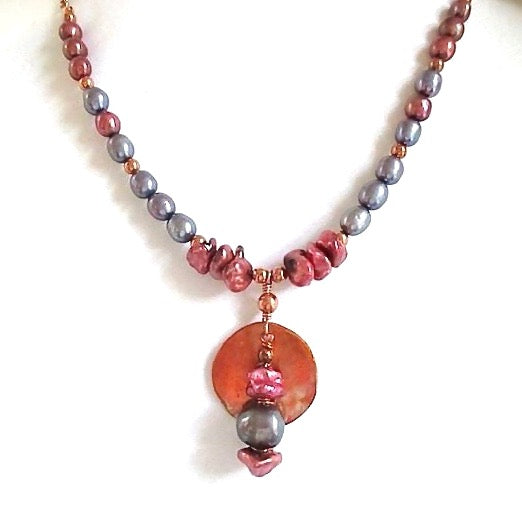 Copper Colorful Pearls Boho Pendant Beaded Necklace Red Blue Genuine Freshwater Pearls
