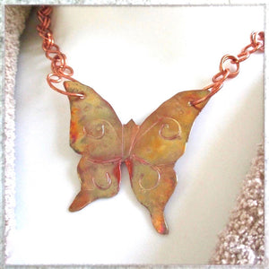 Large Copper Butterfly Pendant Necklace with Adjustable Chain