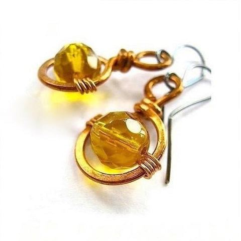 Copper Earrings with Wire Wrapped Amber Glass Crystals
