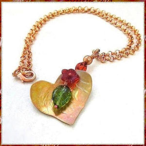 Copper Heart Floral Pendant, Red Flower, Ladybug, Green Leaf, Chain Necklace
