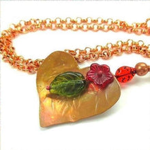 Load image into Gallery viewer, Copper Heart Floral Pendant, Red Flower, Ladybug, Green Leaf, Chain Necklace