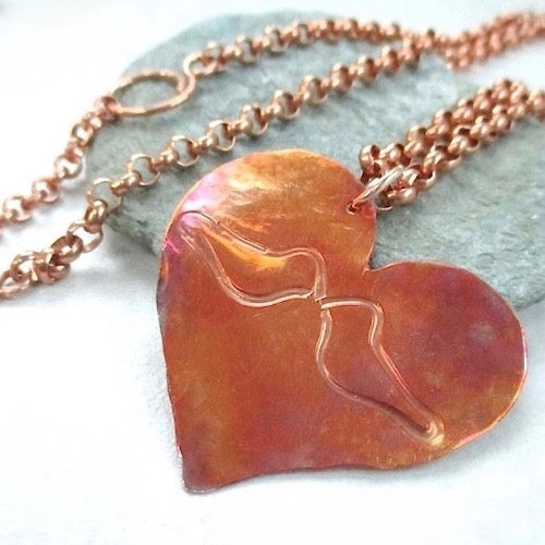 Copper Heart Pendant with Etched Love Birds on Chain Necklace